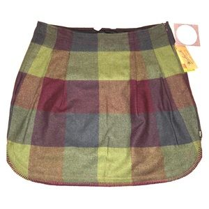 Woolrich Richville 2 Wine Wool Plaid Skirt 8 NWT